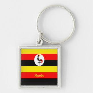 Uganda Llavero Cuadrado Plateado