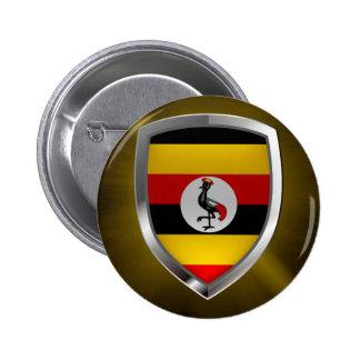 Uganda Metallic Emblem Pinback Button