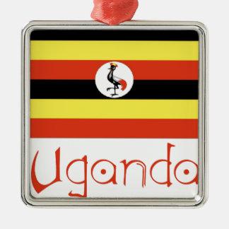 Uganda Square Metal Christmas Ornament