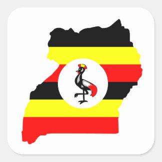 Uganda Calcomanías Cuadradas