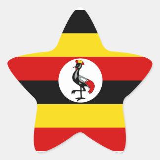 Uganda/Ugandan Flag Star Sticker