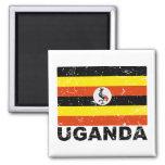 Uganda Vintage Flag 2 Inch Square Magnet