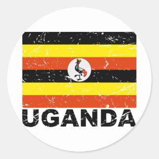 Uganda Vintage Flag Classic Round Sticker