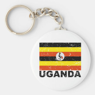 Uganda Vintage Flag Keychain