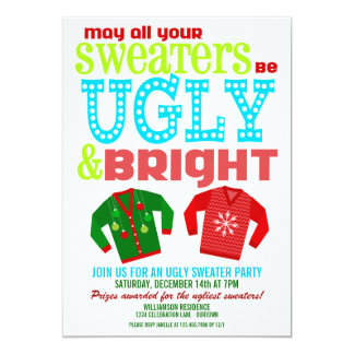 Ugly and Bright Christmas Sweaters Party 5x7 Paper Invitation Card