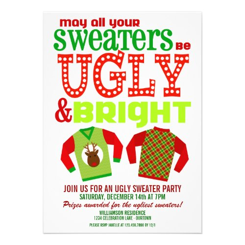 bd828d2e43e Ugly and Bright Christmas Sweaters Party Custom Announcements ...