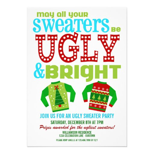 Ugly and bright christmas sweaters party 5x7 paper for Ugly sweater christmas party invitations template