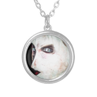 UGLY Angry Woman Round Pendant Necklace
