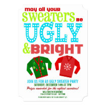 Ugly & Bright Christmas Sweaters Party Invitation