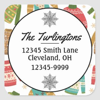 Ugly But Cute Christmas Sweaters Return Address Square Sticker