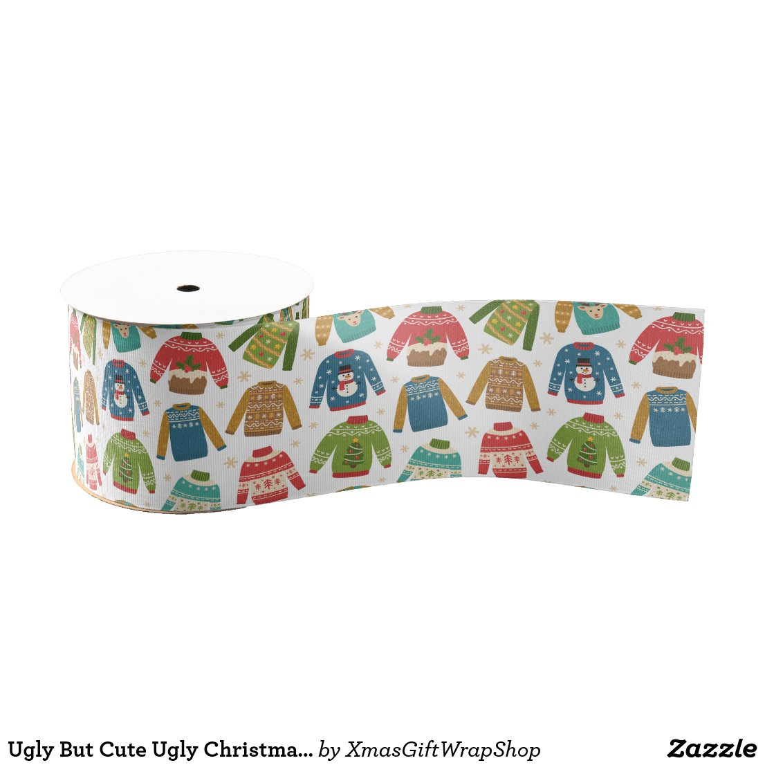 Ugly But Cute Ugly Christmas Sweaters Holiday Grosgrain Ribbon