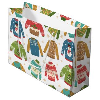 Ugly But Cute Ugly Christmas Sweaters Holiday Large Gift Bag