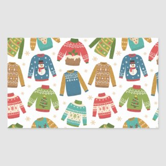 Ugly But Cute Ugly Christmas Sweaters Holiday Rectangular Sticker