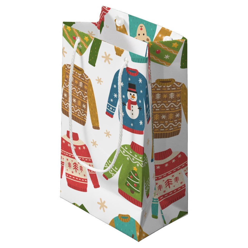 Ugly But Cute Ugly Christmas Sweaters Holiday Small Gift Bag