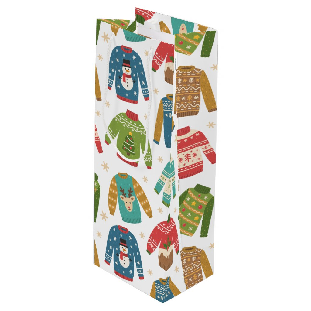 Ugly But Cute Ugly Christmas Sweaters Holiday Wine Gift Bag
