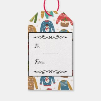 Ugly But Cute Ugly Christmas Sweaters Personalized Gift Tags