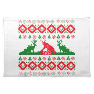 Ugly Christmas beer Cloth Placemat