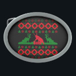 "Ugly Christmas beer Oval Belt Buckle<br><div class=""desc"">Ugly Christmas beer</div>"