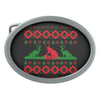 Ugly Christmas beer Oval Belt Buckle