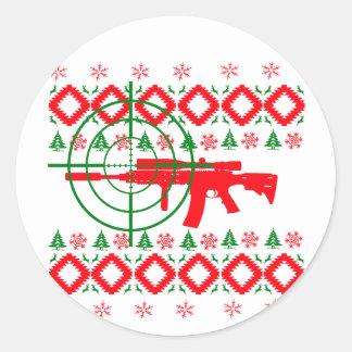 Ugly Christmas gun Classic Round Sticker