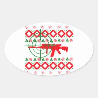 Ugly Christmas gun Oval Sticker