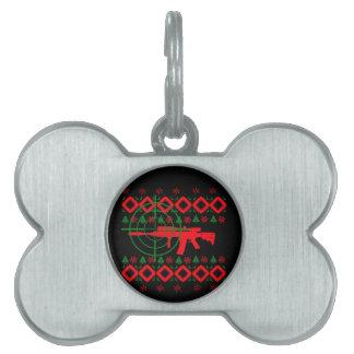 Ugly Christmas gun Pet Tag