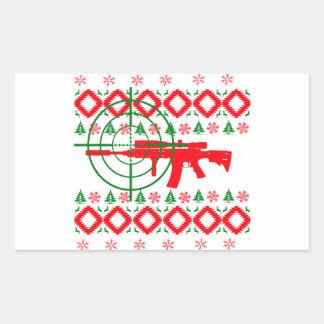 Ugly Christmas gun Rectangular Sticker