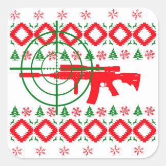 Ugly Christmas gun Square Sticker