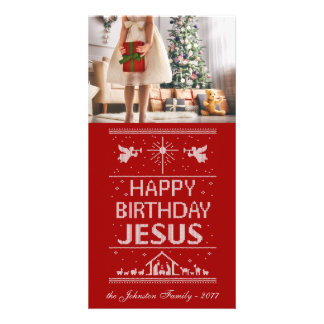 Ugly Christmas Knit Happy Birthday Jesus Religious Card