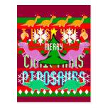 Ugly Christmas Pattern Cute Cartoon Dinosaurs Postcard