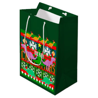 Ugly Christmas Pattern Kawaii Dinosaurs Medium Gift Bag