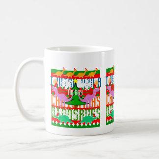 Ugly Christmas Pattern Kawaii Dinosaurs Holiday Coffee Mug
