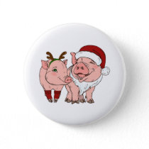 ugly christmas pig button