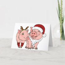 ugly christmas pig holiday card
