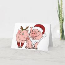 ugly christmas pig holiday card