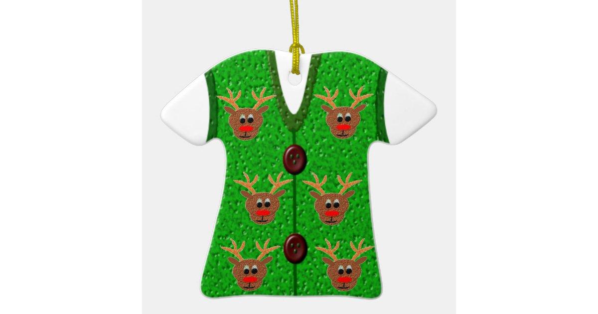 ugly christmas reindeer sweater vest ornament zazzlecom