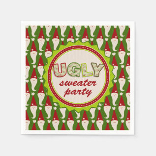 Ugly Christmas Santa Sweater Cocktail Napkins at Zazzle