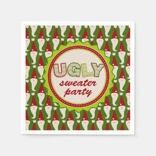Ugly Christmas Santa Sweater Cocktail Napkins