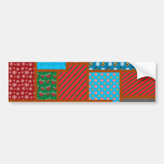Ugly christmas square pattern bumper stickers