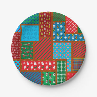 Ugly christmas square pattern paper plate