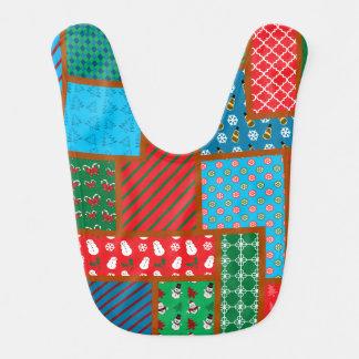 Ugly christmas square pattern baby bib