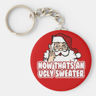 Ugly Christmas Swear Santa Claus Basic Round Button Keychain