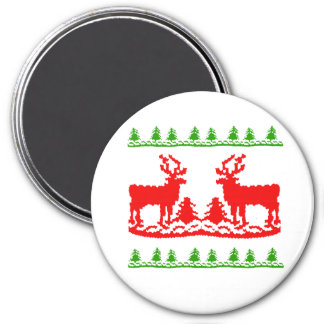 Ugly Christmas Sweater 3 Inch Round Magnet