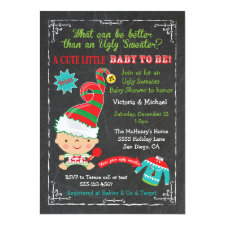 Ugly Christmas sweater Baby Shower Invitations
