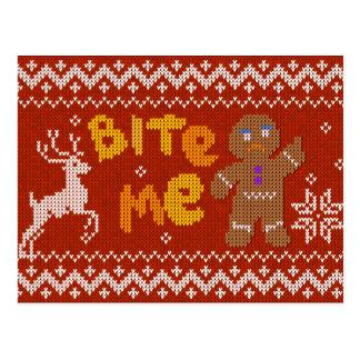Ugly Christmas Sweater: Bite Me Gingerbread Man Postcard