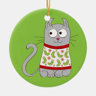 Ugly Christmas Sweater Cartoon Cat Ceramic Ornament