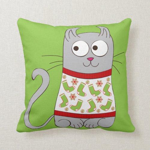 Ugly Christmas Sweater Cartoon Cat Throw Pillow