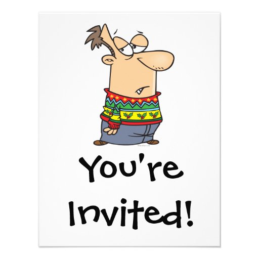 Ugly Christmas Sweater Cartoon 4 25x5 5 Paper Invitation