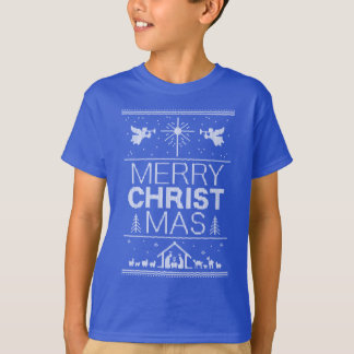 Ugly Christmas Sweater Christ Christian Blue White
