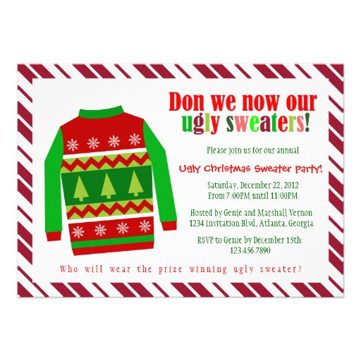 Ugly Christmas Sweater Christmas Party Invitation
